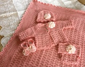 Crochet Pattern, Baby Layette 5 Pieces, Blanket Sweater Booties Diaper Cover Beanie Hat INSTANT DOWNLOAD