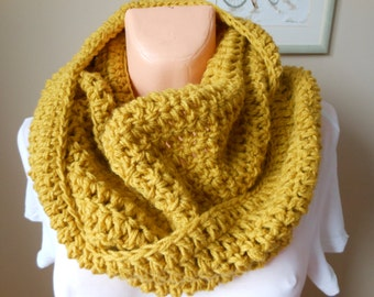 Crochet Infinity Scarf Cowl Neck Warmer Mustard Yellow