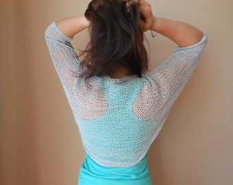 Knitted  Shrug Bolero Summer Shrug Lace Grey Cotton