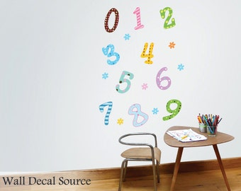 Number Wall Decals - 123 Wall Decal - Flower Wall Decals - Kids Wall Decal - Number Decals