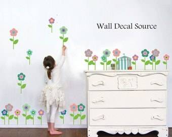 Flower Decals - Flower Decal - Patterned Flower Wall Decal - Vinyl Floral Decals