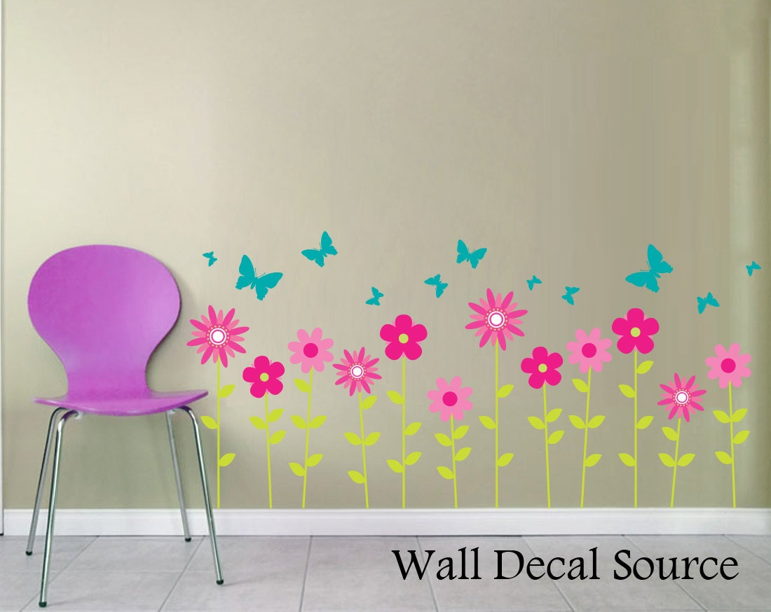 Wall Flowers Decor flower wall decal floral wall decor butterflies wall decal