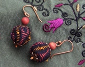 Dangle Earrings with soft textile fabric beaded purple yellow