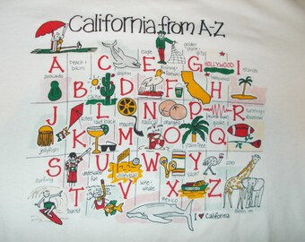 VINTAGE Kersti California Golden State Hollywood Rosebowl White Graphic LARGE T Shirt 1991