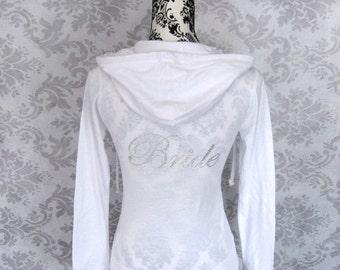 Bride Jacket Hoodie. White Wedding Gift. Wifey. Bridesmaid Jacket. Bridal Party Shirts