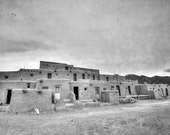 Taos Pueblo photograph - decorative photography print - wall art - black and white - Native American architecture - HDR - multiple sizes