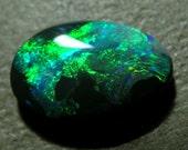 Lightning Ridge Black Opal Beautiful Emerald Green Jet Black Swirls 1.9 Carat