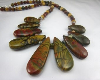 Picasso jasper gemstone necklace,mixed color necklace