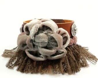 Leather bracelet big flower in brown beige -  bohemian wide cuff western style with fringe - handmade woman jewelry SALE from eur 45,95