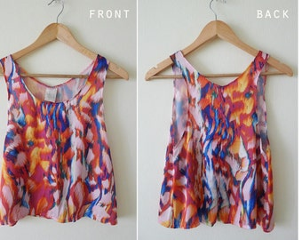 Slouchy multicolor sleeveless blouse, soft touch, summer tank, loose tank, deep arm hole, abstract prints, neon