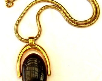 Vintage Rare 1970s Trifari Smoked Topaz Ivory Lucite Spinner Double-Sided Pendant Necklace
