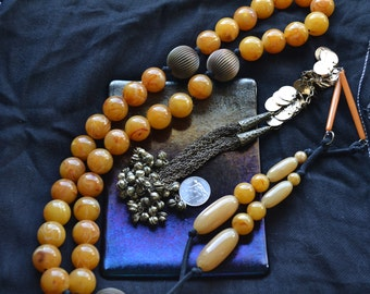 """XL """"AMBER"""" Pray Beads, Pagen - Wiccan - Mala Pray Beads, With Bells. 33 bead style"""
