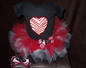 custom made 3pc tutu skirt set infant 12m red and white zebra heart BLING