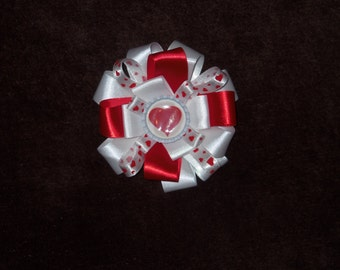 NEW Valentine's Day Hearts bottlecap hairbow clip red and white alligator clip