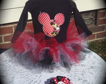 Custom made Boutique Pageant 3pc Minnie Mouse infant tutu set with matching bottlecap hairbow size 6m