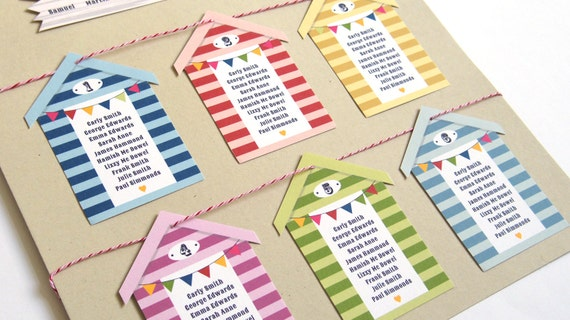 Beach Themed Wedding Invitations Uk: Holiday Beach Huts Wedding Table Seating Plan A2 By