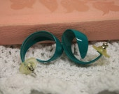 vintage earrings,  swirly earrings, teal earrings, old earrings