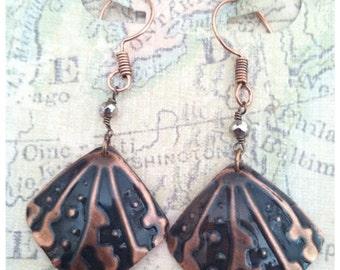 Salvaged  copper Embossed earrings