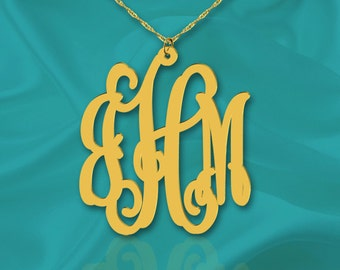 Monogram Necklace 1 1/4 inch 24K Gold Plated Vine Sterling Silver Handcrafted Personalized Initial Necklace - Made in USA