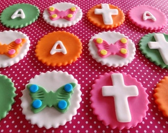 12 Fondant Edible Cupcake/Cookie Toppers - First Communion, Baptism, Christening