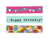 Birthday party remix washi tape set (1 metre per design, 3 metres in total)