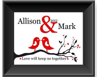Anniversary Gift - Wedding Gift for Couple - Personalized Couple Gift- Valentine's Day Gift - Love Birds-Can be made in other colors