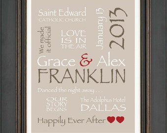 Personalized Couple Gift- Valentines Gift for Couple - Wedding Gift for Couple - Anniversary Gift -Other colors available