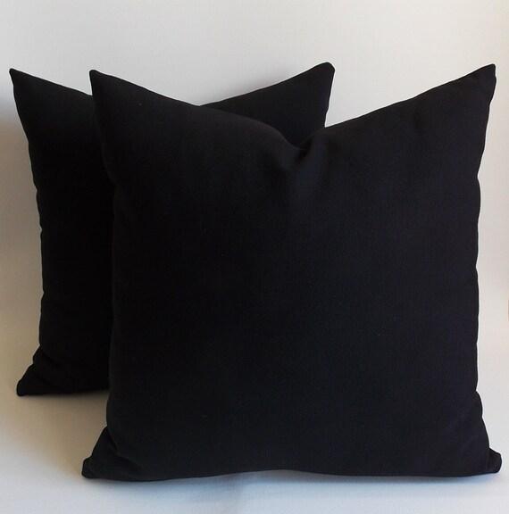 Black Down Throw Pillows : SET 2/ Black pillow Black Decorative pillow Black Throw