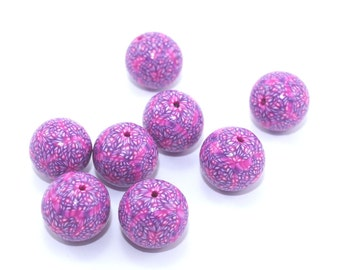 Round beads in tiny abstract dots of pink, purple and white, set of 8 unique polymer clay beads