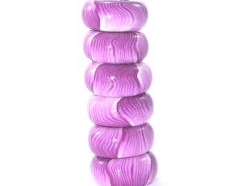 Pink, purple and white round flat beads in stripes pattern, Polymer Clay beads, unique pattern, Set of 6 beads