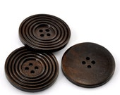 "8 Round Ridged Design Wood Button Four Hole Dark Brown Colour 38mm (1 1/2"") - 8 Pack PWB20"