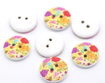 White Painted Floral Wood Two Hole Button for Sewing Knitting Crocheting Craft Jewelry Scrapbooking Art Clothes Pack of 10 15mm