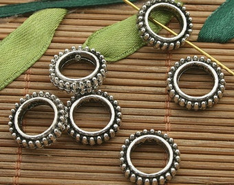 30pcs dark silver tone 12.8mm spacer beads h3701
