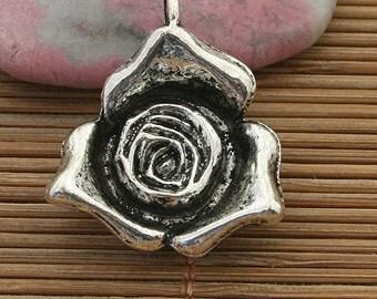 6pcs dark silver tone rose flower pendant charm h3960