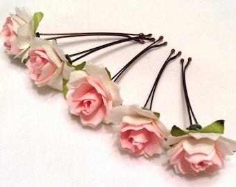 hair accessories. hair pins. bobby pins. flower hair pin. wedding hair pins. bridesmaids. flower girl. floral hair accessories. pink.
