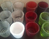 Thousand eyes /hobnail votive candle holders (ONE per price) I add to the list of the different colors as I get new ones.