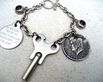 Charm Bracelet - Vintage Assemblage - Key - Coin - Dog Tag - Silver