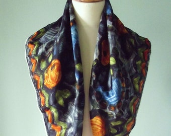 Vintage 1950's abstract orange fruit design heavy silk large scarf with hand rolled edges (26ins x 26ins)