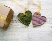 Set of 2 shabby chic heart ornaments home decor mossy green gold lilac purple black rustic home decor