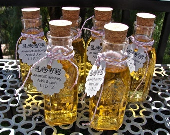 Vintage Style Honey Bottles With Corks- Perfect For Weddings or Parties - DIY Honey Wedding Favors - 6 Pieces - hb6