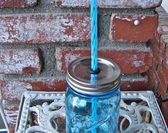 Heritage Collection Blue Mason Jar and Hand Made Mason Jar Commuter Tumbler With Spil Resistant Lid and BPA Free Reusable Straw