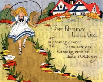 BEST Birthday Card Ever. For Little Girl.  Art Deco  BIRTHDAY Card. Vintage Illustration. Birthday DIGITAL Download