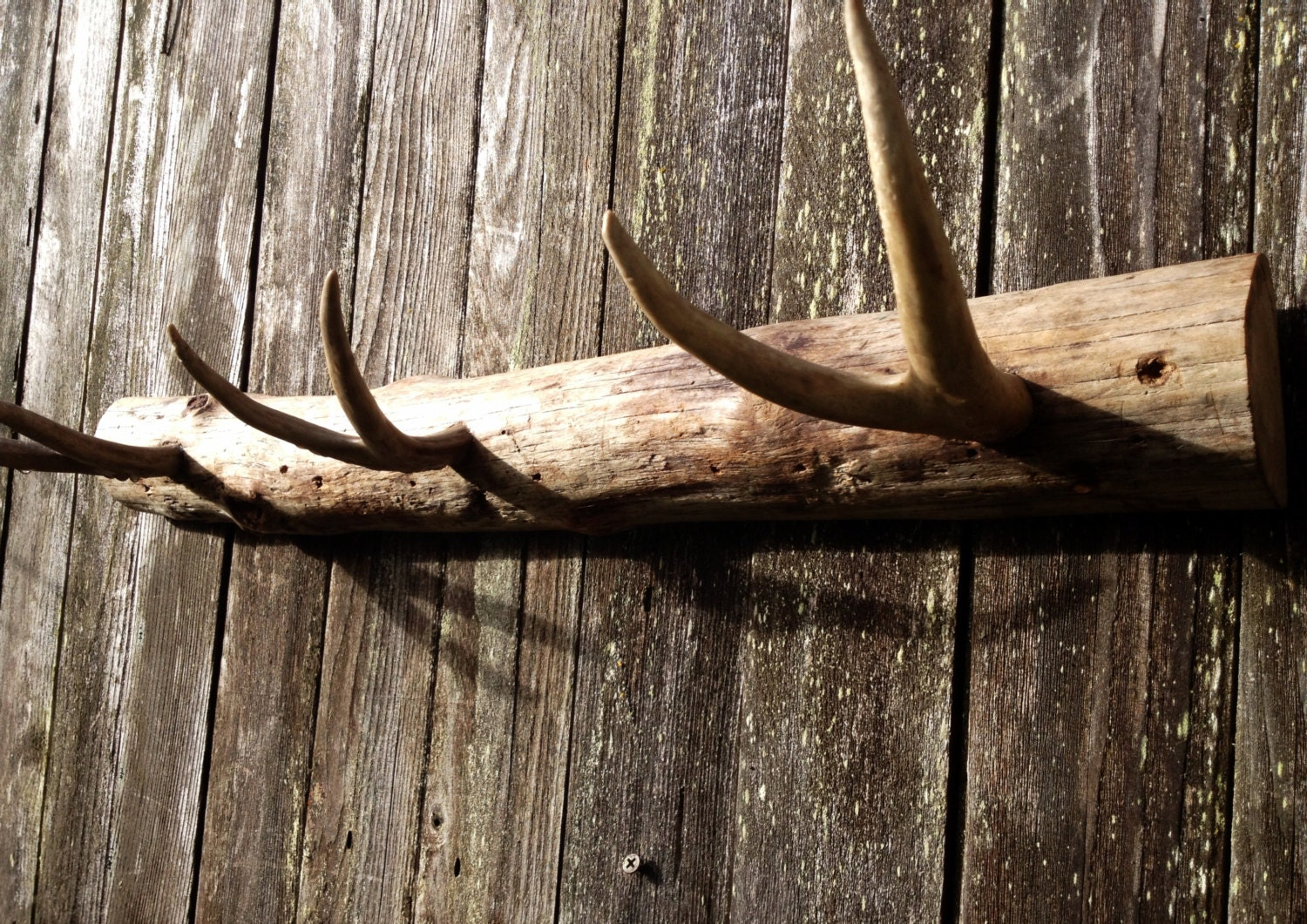 Rustic coat rack with deer antlers rustic by menasrusticdecor for Antlers decoration
