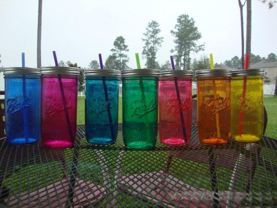 Ball MASON JAR Sippy Tumbler - Glass - - Choose your Color - 24 oz Tumbler - Weddings - Bachelorette Party - Baby Showers - Favors