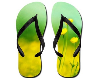 Happy, Smiling, Laughing - Summertime Flip Flops Slippers Aloha Thongs - bright sunny summer yellow wildflowers flowers