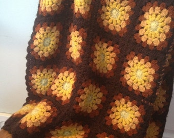 Vintage crochet afghan: Yellow, gold and brown granny squares handmade in Korea