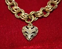 Vintage Gold Plated Filigree Heart Bracelet with Multi Link Chain