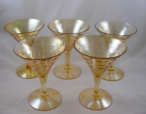 S Iridescent Amber Wine Glasses