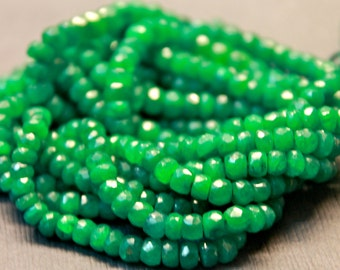 Genuine green emerald precious gemstone rondelles- faceted emerald rondelles- May birthstone- 7 inch strand- 3.8-4.5 mm No.493