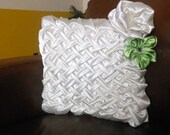 Satin Ivory wedding pillow. bridal  ring pillow . Decorative hand smocked pillow  green and ivory color, fabric flowers.